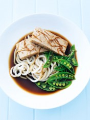 ginger-poached tofu with noodles