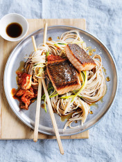 ginger salmon with zucchini, soba noodles and kimchi