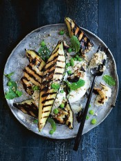 grilled eggplant with haloumi and smoky baba ghanoush