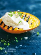 grilled mango with frozen vanilla yoghurt