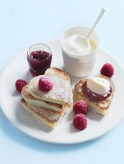 heart-shaped pikelets with jam and cream