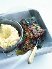 herby mustard chicken with olive oil mash