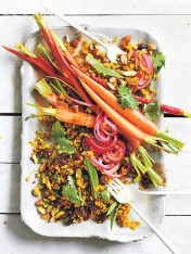 herby turmeric quinoa salad with pickled carrots