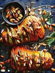 honey and almond hasselback pumpkin