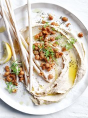 hummus with spiced crispy chickpeas