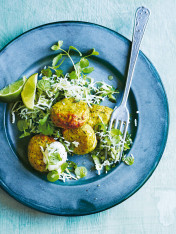 indian-style fish cakes with coconut-chilli raita