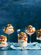 individual ginger and caramel trifles with almond praline