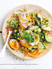 japanese seaweed salad with creamy avocado ginger dressing