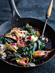 kale and artichoke salad with pomegranate and tarragon dressing