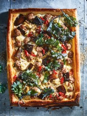 lamb, eggplant and kale tart