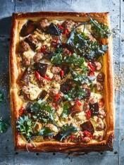 lamb, eggplant and kale tart