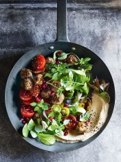 lamb kofta with pomegranate and tomato salad