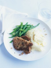 lemon-and-thyme pork schnitzel with parmesan mash