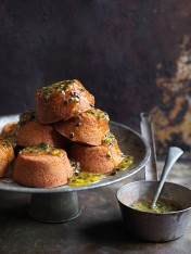 Lemon extra virgin olive oil cakes with passionfruit syrup