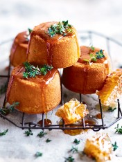 lemon thyme cakes with honey syrup