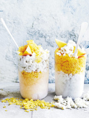 mango and ginger granita with creamy coconut granita
