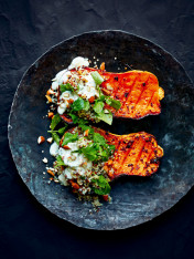 maple and chilli roasted pumpkin with quinoa tabouli