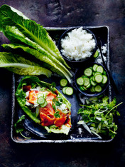 maple teriyaki salmon with lettuce cups and pickles