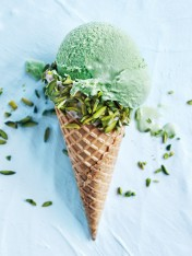 matcha green tea ice-cream in pistachio and white chocolate cones