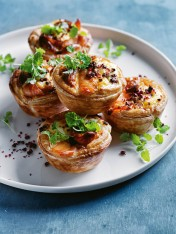 mini salmon, pink peppercorn and ricotta quiches