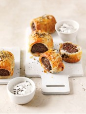 Mint and chilli lamb sausage rolls with tzatziki