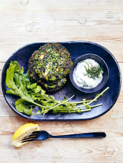 mint, pea, spinach and chia fritters