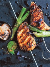 miso and ginger salmon skewers