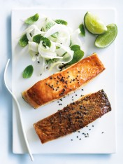 miso and orange-glazed salmon