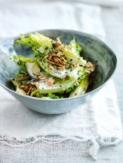 new caesar salad with oat croutons