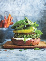 open-faced supergreen burgers with sweet potato fries