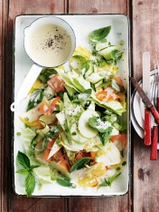 pineapple, apple and zucchini slaw with mustard dressing