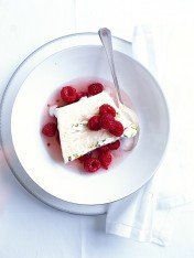 pistachio nougat semifreddo with marinated raspberries