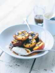 poached fruit in passionfruit syrup
