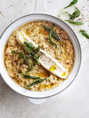 porcini risotto with crispy sage and brie