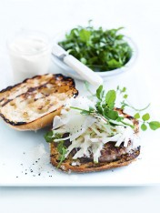 pork and horseradish burgers with apple slaw