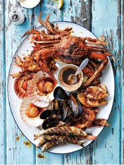 portuguese-style barbecued seafood platter