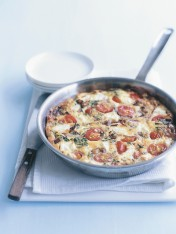 potato and cherry tomato frittata