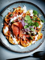 potato waffles with smoked salmon and creamy buttermilk dressing