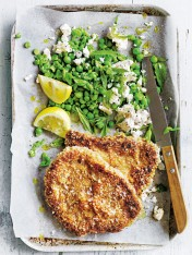 quinoa-crusted veal schnitzel with pea, mint and feta smash