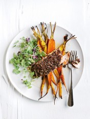 quinoa-crumbed salmon with glazed carrots