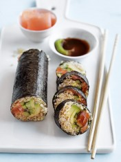 quinoa sushi with spicy salmon and avocado
