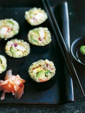 quinoa sushi with chilli tofu and avocado