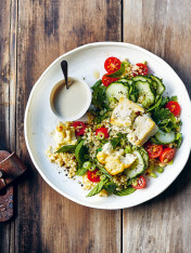 quinoa tabouli with seared feta and lemon tahini dressing