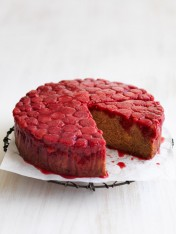 raspberry banana upside-down cake