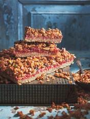 rhubarb granola crumble slice