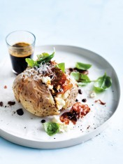 ricotta, salami and basil jacket potatoes