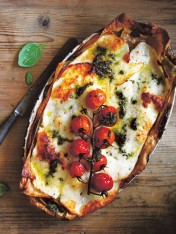 roast tomato, basil and haloumi lasagne