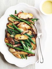 roasted potatoes with green beans and speck