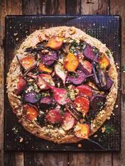 roasted beetroot, feta and silverbeet tart