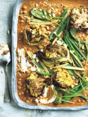 roasted cauliflower curry with chickpeas and cashews